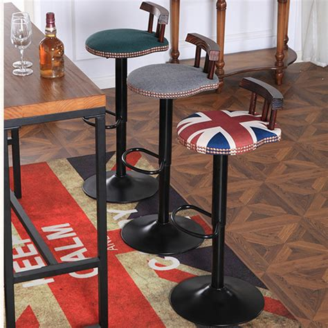 swivel chair with backrest industrial vintage rustic retro swivel counter bar stool
