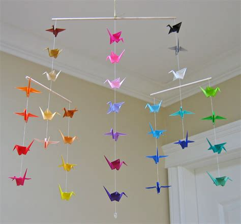 origami mobile origami crane mobile colour wheel contemporary mobile