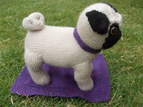 knitted pug pattern fawn knitted pug with collar and blanket by pugsinblankets