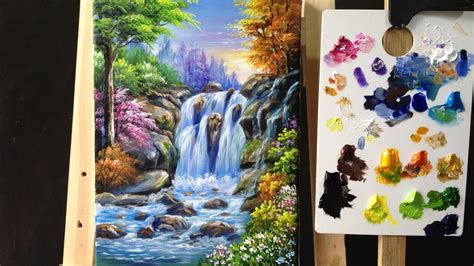 how to preserve acrylic paint on canvas colorful waterfall arylics painting lesson 4