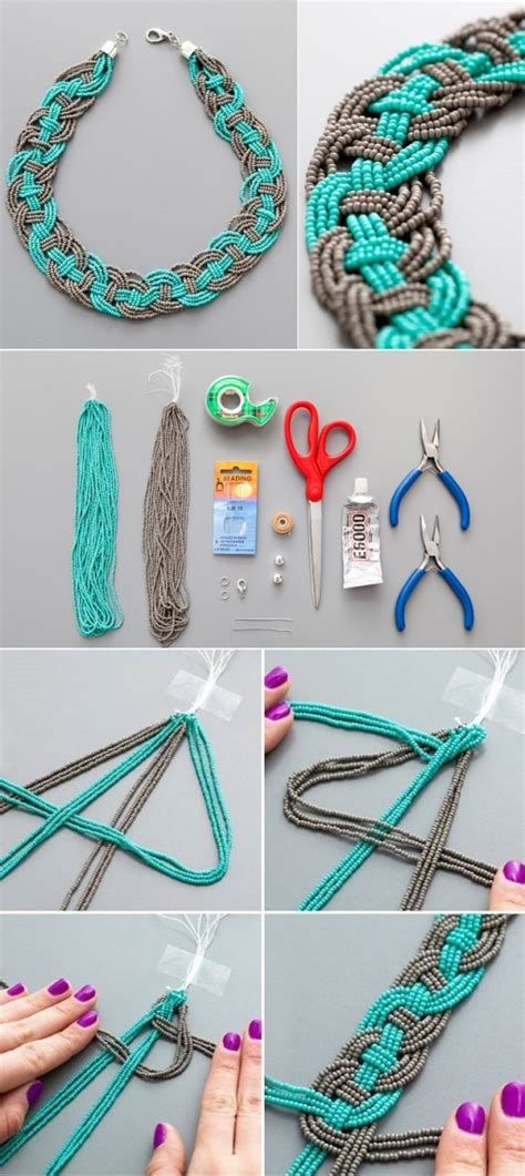 step by step jewelry diy woven bead statement necklace tutorial diy tag