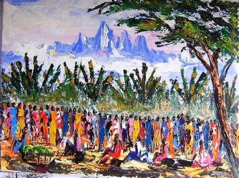 acrylic paint kenya mount kenya market day by joseph muchina