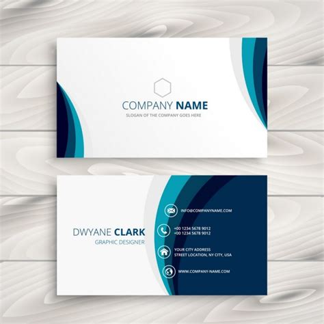 make a bussiness card blue wave business card design vector free