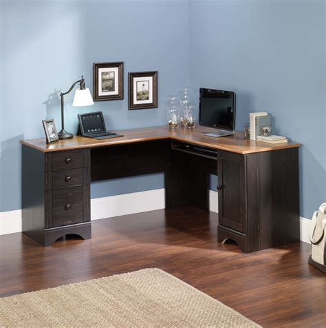 sauder harbor view computer desk with hutch antiqued white sauder computer desk brushed maple finish home design ideas