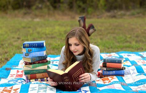 senior pictures with books senior grace prestonwood christian academy senior