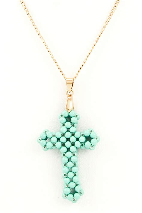 bead cross necklace beaded cross pendant necklace necklaces