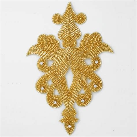 gold beaded applique rhinestone beaded applique patch joyce trimming