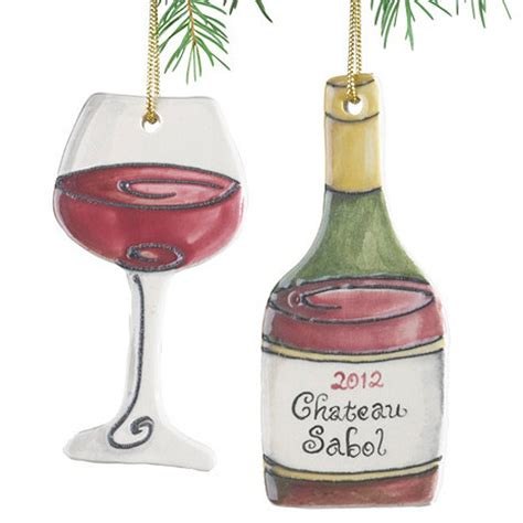 wine bottle ornaments personalized wine bottle and wine glass ornament set