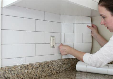 Kitchen Cabinets Making white subway tile temporary backsplash the full tutorial