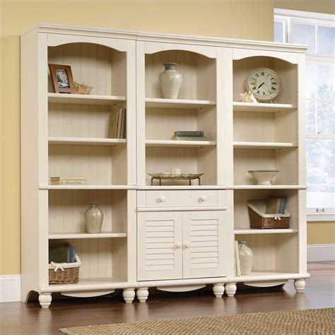 antique white bookshelves library wall bookcase in antiqued white 158082 158085 3pkg