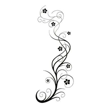 vine tattoo long swirly vine with flowers tattoo design