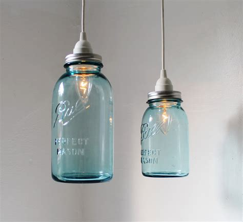 lights jar sea glass jar pendant lights set of 2 hanging antique