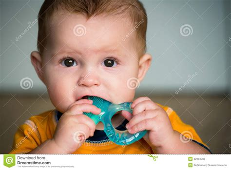 baby chew baby chewing on teething ring stock photo image 42681703