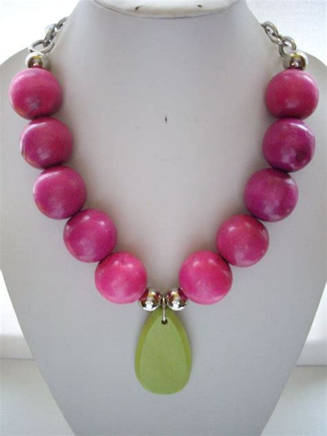 chunky wooden bead necklace chunky fuschia pink wooden bead necklace by