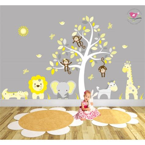 nursery tree stickers for walls safari fabric nursery wall stickers