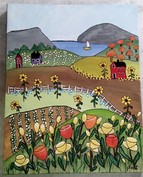 folk acrylic paint on canvas daises and daffodils 8x10 naive folk acrylic painting on