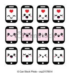 Vector Clip Art of Japanese cute Kawaii phone icons   Vector icons set of  csp21178514