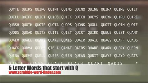 quaf scrabble 5 letter words that start with q