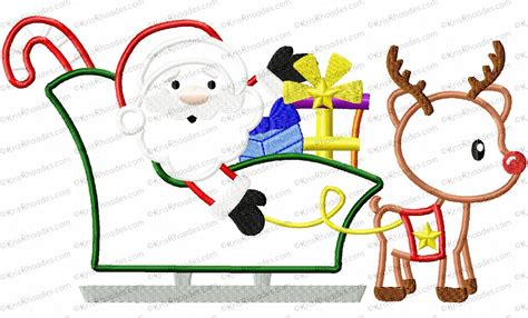 santa and reindeer sleigh santa sleigh and reindeer applique embroidery design