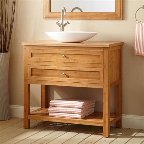 narrow bathroom sink vanity 36 quot narrow depth thayer bamboo vessel sink console vanity