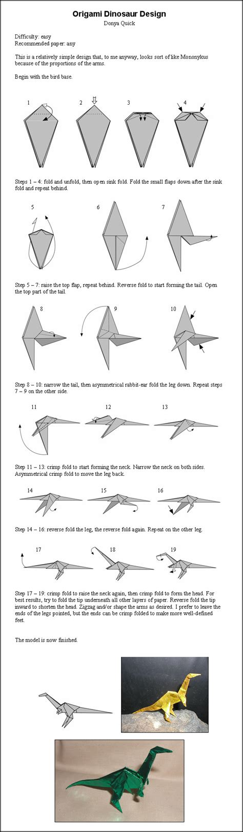 origami dinosaur step by step origami dinosaur by donyaquick on deviantart