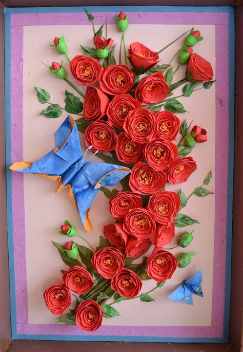 craft paper flowers roses paper quilling wall origami