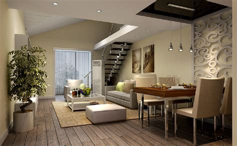 3 Bedroom House Plans Indian Style 3d dining living room of duplex house