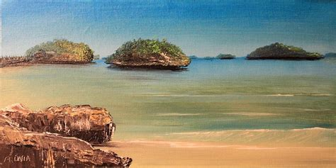 paint island hundred islands in philippines painting by remegio onia