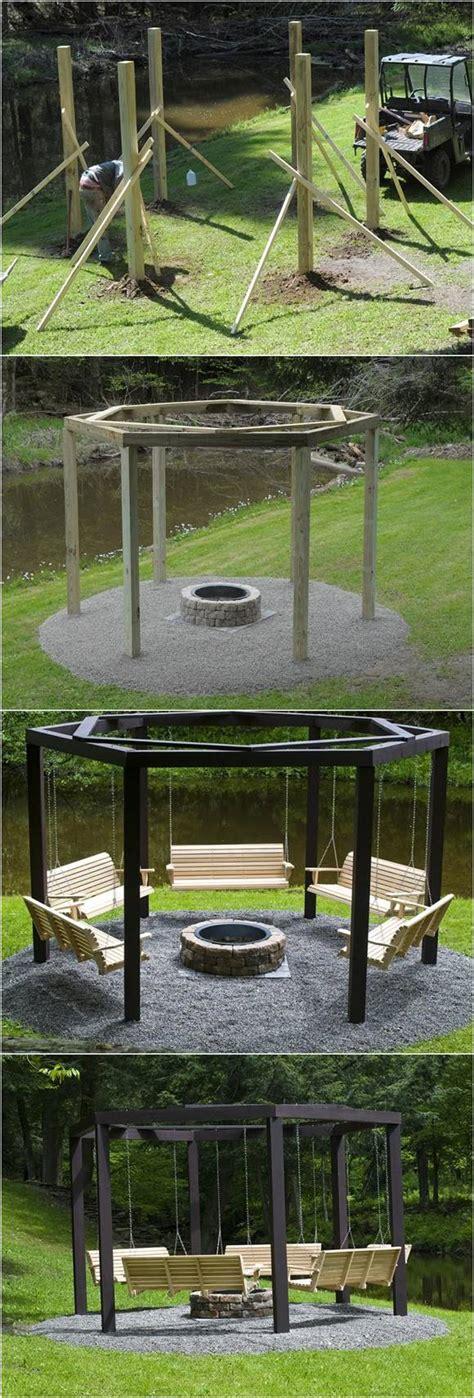 diy backyard swing diy backyard pit with swing seats icreativeideas