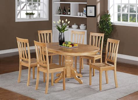wooden kitchen table set 5pc oval dinette kitchen dining set table with 4 wood seat