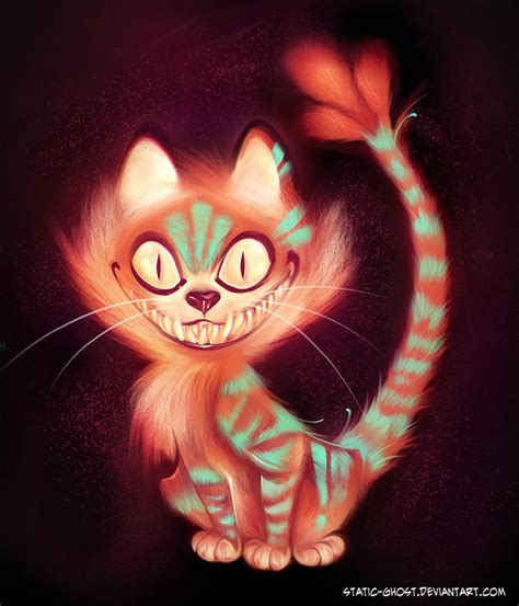 evil cat painting cheshire cat by static ghost on deviantart