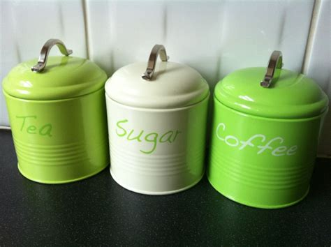 lime green tea coffee sugar kitchen canister jar tins