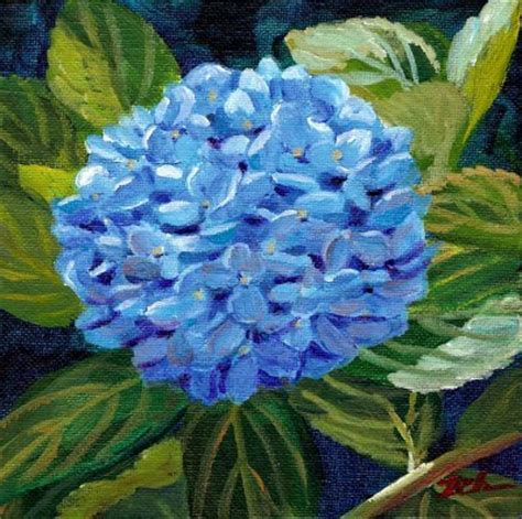 acrylic painting hydrangeas zeh original watercolor and paintings blue