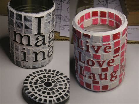 tin can crafts projects mosaic can totally green crafts