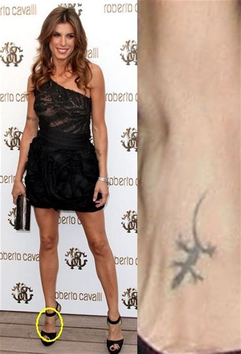 elisabetta canalis tattoos tiny lizard tattoo on foot