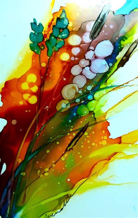 acrylic paint on yupo inks on yupo painting with inks
