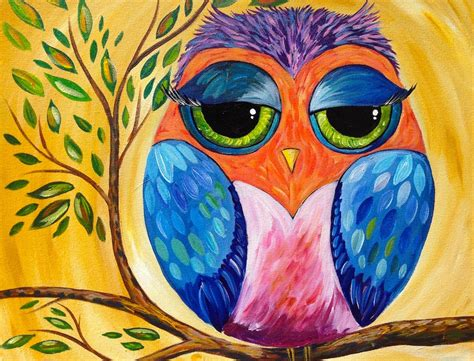 how to cover acrylic paint on canvas colorful owl acrylic painting lesson for beginners