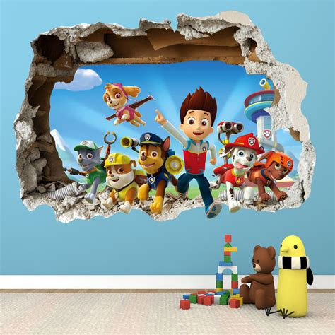Childrens Large Wall Stickers paw patrol smashed wall sticker 3d bedroom boys girls