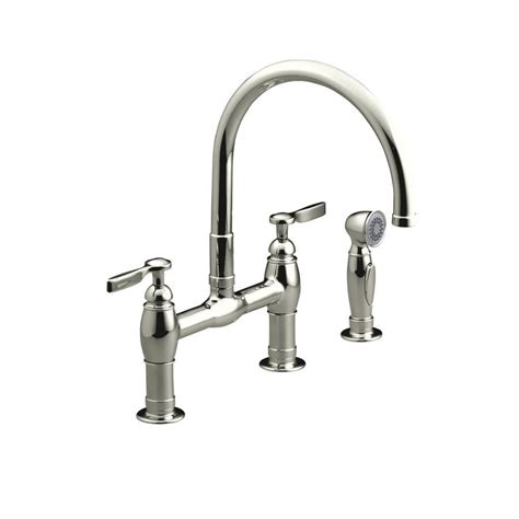 polished nickel kitchen faucets shop kohler parq vibrant polished nickel 2 handle deck mount high arc kitchen faucet at lowes