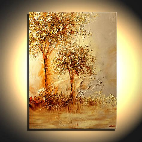 acrylic painting gold landscape painting landscape of two golden trees