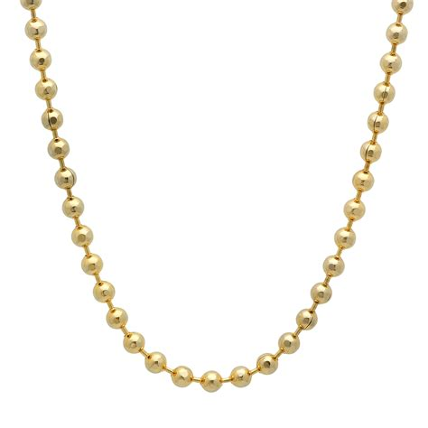 14k gold bead chain 4mm 14k gold plated bead chain necklace ebay
