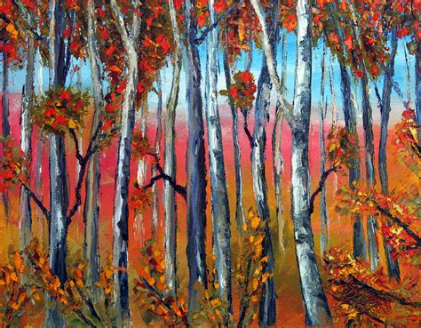 painting palette knife autumn palette knife painting no brush painting