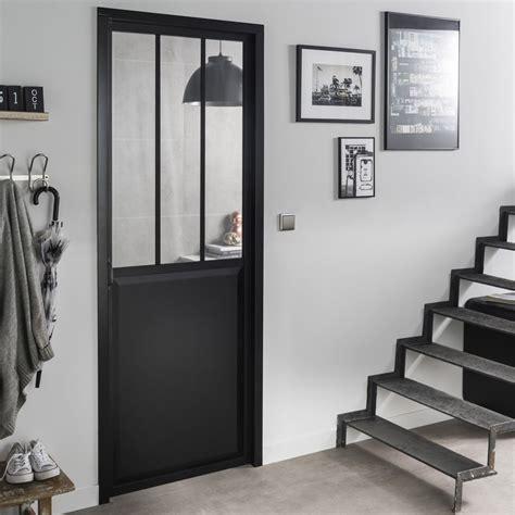 bloc porte noir atelier verre clair artens h 204 x l 73 cm poussant droit leroy merlin