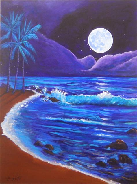 acrylic painting moonlight kauai by moonlight original acrylic painting by marionette