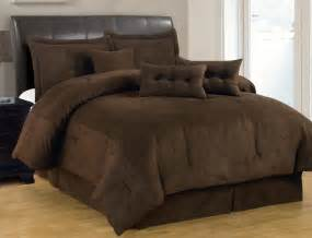 solid comforter set 7 pc solid brown comforter set micro suede size bed