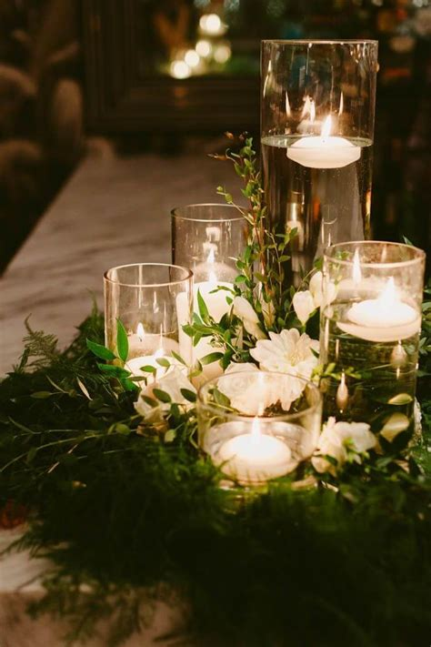 floating candle centerpiece floral wreath wedding centerpieces with floating candles
