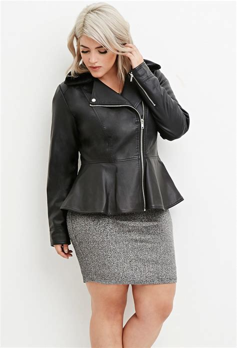 plus size leather jackets for forever 21 plus size faux leather moto jacket in black lyst