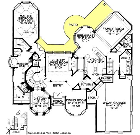 Kitchen Floor Plans With Walk In Pantry luxury style house plans 4500 square foot home 2 story