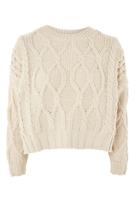 how to knit a jumper cropped cable knit jumper topshop