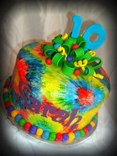 tye scrabble pin tie dye and peace signs cake on